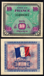 Pick #116a 10 Francs 1944 France Choice Uncirculated