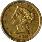 1846-D/D Liberty Gold $5 CAC Sticker PCGS AU55 Superb Eye Appeal Strong Strike