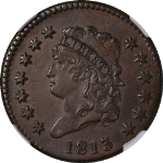 1813 Large Cent NGC AU Details S.292 R.2 Great Eye Appeal Strong Strike