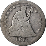 1851-O Seated Liberty Quarter Nice G Details Key Date Decent Eye Appeal