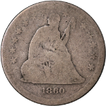 1860-S Seated Liberty Quarter AG Key Date Decent Eye Appeal