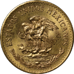 1919 Mexico 20 Peso Gold Coin BU