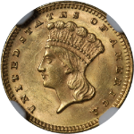 1874 Type 3 Indian Princess Gold $1 NGC MS62 Superb Eye Appeal Strong Strike
