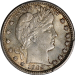 1909-P Barber Quarter CAC Sticker PCGS MS64 Great Eye Appeal Strong Strike