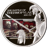 2009 Tuvalu 1oz Silver Famous Battles in History - Thermopylae Colorized OGP COA