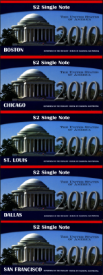 2010 $2 Single Note Collection B.E.P. Issued - 10 Districts - OGP - 10 Note Lot