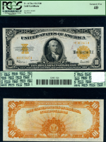 FR. 1173 A $10 1922 Gold Certificate Small Letters PCGS XF40