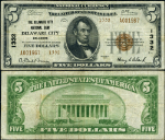 Delaware City DE-Delaware $5 1929 T-2 National Bank Note Ch #1332 Delaware NB VF