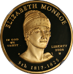 2008-W First Spouse Gold $10 Elizabeth Monroe NGC PF69 Ultra Cameo Spouse Label