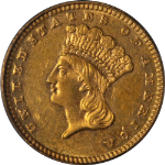 1884 Type 3 Indian Princess Gold $1 OGH PCGS MS60 Nice Eye Appeal Nice Strike