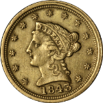 1843-C/C Liberty Gold $2.50 Lg Date Plain 4 Nice XF Details Key Date Nice Strike