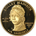 2007-W First Spouse Gold $10 Dolley Madison PCGS PR69 DCAM Blue - STOCK