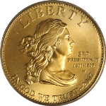 2007-W First Spouse Gold $10 Jefferson's Liberty ICG MS70 Green