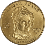 2007-W First Spouse Gold $10 Abigail Adams ICG MS70 Green