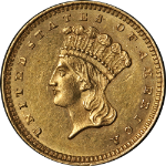 1862 Type 3 Indian Princess Gold $1 Civil War Date Choice AU/BU Great Eye Appeal