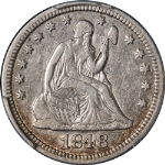 1848/48 Seated Liberty Quarter Briggs 1-A PCGS XF40 Great Eye Appeal Nice Strike