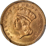 1867 Type 3 Indian Princess Gold $1 PCGS MS65+ CAC Sticker Superb Eye Appeal