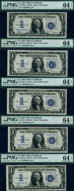 FR. 1606 $1 1934 Silver Certificate 5pc Lot Choice PMG CU64 EPQ - Mostly Consec.
