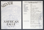 2003-W Silver American Eagle Proof Certificate of Authenticity