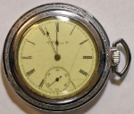 Elgin Grade 216 Pocket Watch 6 Size 15 J. Base Metal Open-Face - Working