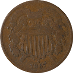 1867 Two (2) Cent Piece - Doubled Die Obverse