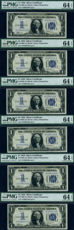 FR. 1606 $1 1934 Silver Certificate 6pc Lot Choice PMG CU64 EPQ Mosty Consec.