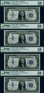FR. 1606 $1 1934 Silver Certificate 4pc Lot Choice PMG AU58 EPQ Mostly Consec.