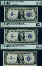 FR. 1606 $1 1934 Silver Certificate 3pc Lot Choice PMG CU63 EPQ Collector Lot