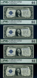 FR. 1602 $1 1928-B Silver Certificate 4pc Lot Choice PMG CU64 EPQ Mostly Consec.