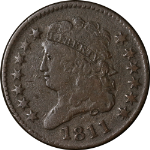 1811 Half Cent 'Close Date' Choice VG/F Key Date C-2 R.3 Great Eye Appeal