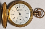 American Waltham Grade J Pocket Watch 6 Size 7 J. Gold-Filled Hunting - Working