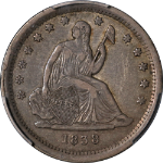 1838 Seated Liberty Quarter No Drapery PCGS XF40 Superb Eye Appeal Strong Strike