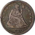 1842-O Small Date Seated Liberty Quarter PCGS VF30 Key Date Superb Eye Appeal