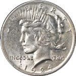 1924-P Peace Dollar PCGS MS63 Bright White Nice Eye Appeal Strong Strike STOCK