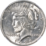 1924-P Peace Dollar NGC MS63 Bright White Nice Eye Appeal Strong Strike STOCK