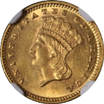 1869 Type 3 Indian Princess Gold $1 NGC MS62 Great Eye Appeal Strong Strike