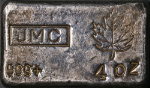 Johnson Matthey 4 Ounce Poured Silver Bar .999+ Fine - Scarce - JMC Maple Leaf