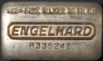 Engelhard 10 Ounce Poured Silver Bar .999+ Fine - P335241 - Old Loaf Style