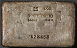 Engelhard 25 Ounce Poured Silver Bar .999+ Fine - RARE - Serial #028453