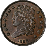 1835 Half Cent Nice BU+ C-2 R.1 Great Eye Appeal Strong Strike