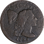 1795 Large Cent 'Plain Edge' F (ish) Details S.78 R.1 Nice Eye Appeal