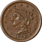 1853 Half Cent Nice Unc C-1 R.1 Great Eye Appeal Strong Strike
