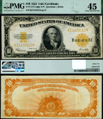 FR. 1173 $10 1922 Gold Certificate K-A Block Choice PMG XF45