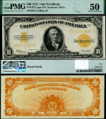 FR. 1173 $10 1922 Gold Certificate Large Serial # PMG AU50