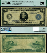 FR. 1005 $20 1914 Federal Reserve Note Dallas Burke-Glass Sigs. PMG VF20