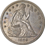 1859-P Seated Liberty Dollar AU Details Nice Eye Appeal