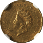 1855-C Type 2 Indian Princess  Gold $1 NGC AU 53  CHARLOTTE MINT