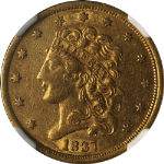 1837 Liberty Gold $5 NGC AU55 Slightly Better Date No Spots or Discolorations