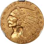 1911-D Indian Gold $2.50 NGC AU58 Key Date Nice Eye Appeal