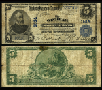 Windham CT $5 1902 PB National Bank Note Ch #1614 Windham NB Damage Fine